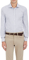 Luciano Barbera Men's Tattersall Cotton Shirt-NAVY, WHITE, BLUE