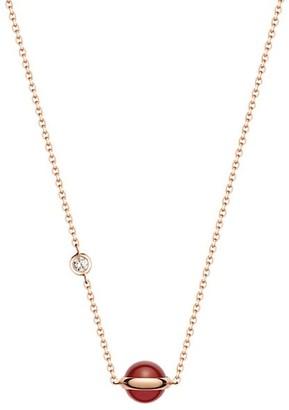 Piaget Possession 18K Rose Gold, Carnelian & Diamond Pendant Necklace