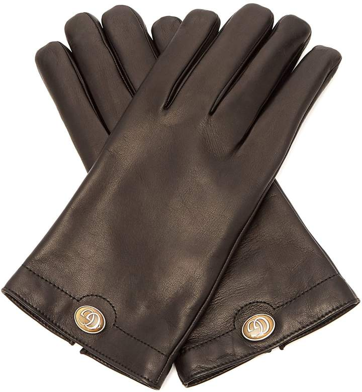 Gucci Logo-plaque leather gloves