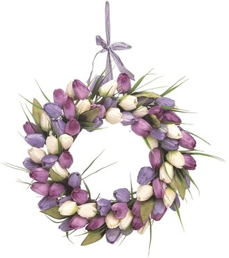 Transpac Wood 20 in. Multicolor Easter Tulip Wreath