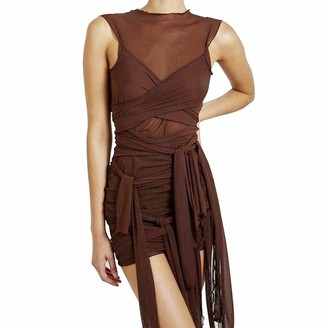 Timagebreze Ribbons Mesh See Through Party Dresses Women Sexy Clubwear Dress Solid Sleeveless Female Outfits L