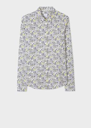 Paul Smith Women's Slim-Fit White 'Lucky Meadow' Print Shirt
