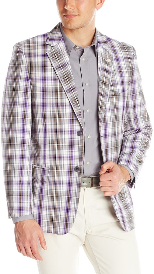 Stacy Adams Men's Plaid Two Button Sport Coat