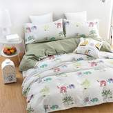 Auvoau White Greeen Stripe Elephant Tree Pattern Kids Boys Girls Duvet Cover Sets