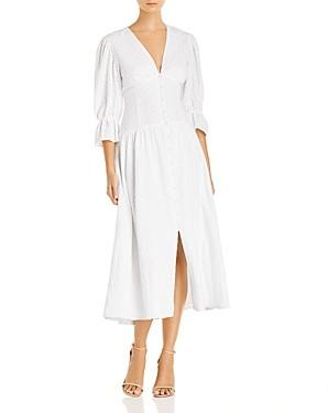 Rebecca Taylor La Vie Leaf-Embossed Midi Dress