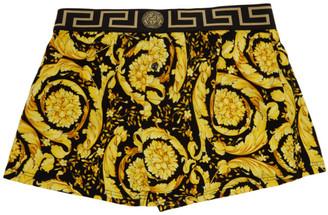 Versace Underwear Black and Gold Barocco Boxer Briefs