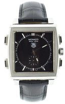 Tag Heuer Monaco CW9110 Stainless Steel & Leather Black Dial Manual 39mm Mens Watch