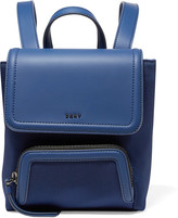 DKNY Mini leather-trimmed twill and rubber backpack