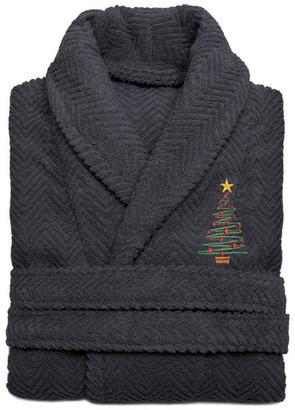 Linum Home Herringbone Weave Embroidered X-Mas Tree Bathrobe, Gray, Large/XLarge