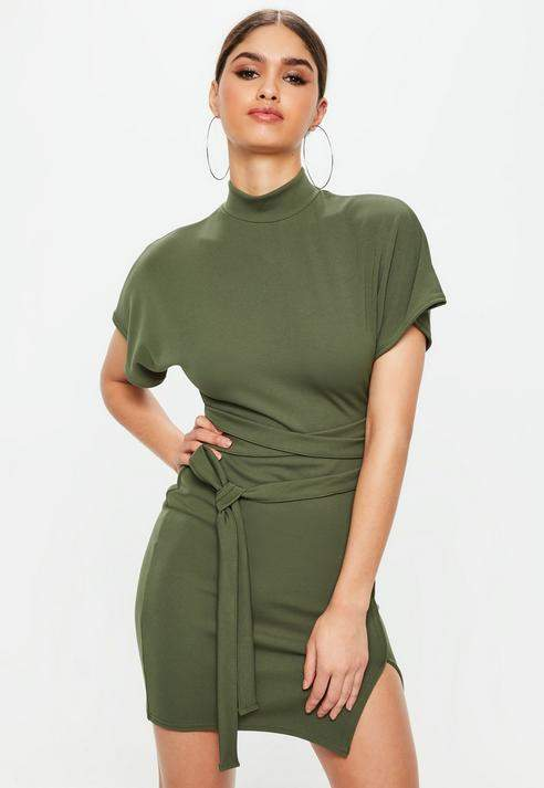 Missguided Khaki High Neck Wrap Waist Shift Dress