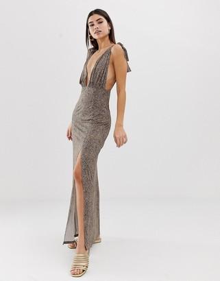 Asos DESIGN tie strap plunge maxi dress in leopard print