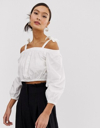 Monki off shoulder crpped blouse in white