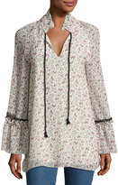 See by Chloe Floral-Print Chiffon Tunic Top w/ Lace