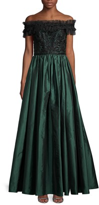 Theia Pleated Off-The-Shoulder Gown