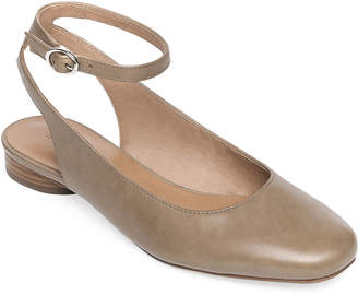 Bernardo Ellie Antique Calf Ankle-Strap Ballet Flats