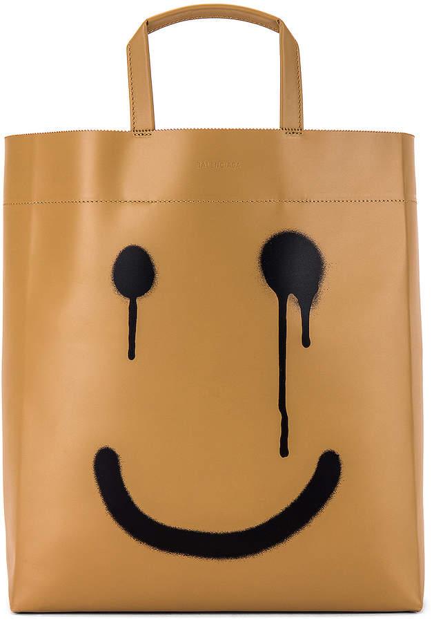 Balenciaga Happy Printed Market Tote Bag in Light Brown | FWRD