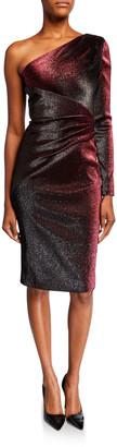 Theia One-Shoulder Metallic Stretch Knee-Length Cocktail Dress
