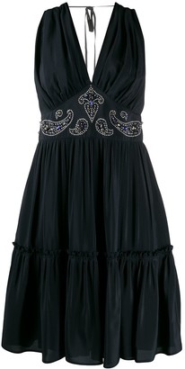 Golden Goose Bead-Embellished Tiered Dress