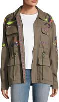 Tanya Taylor Alina Embroidered Cotton Linen Twill Jacket, Green