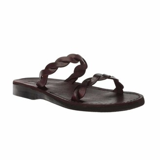 Jerusalem Sandals Womens Joanna Brown Durable Handcrafted Real Leather Sandals Slide Sandals for Women with Elegantly Braided Leather Strap Upper and Toe Loop Textured Sole Waterproof Size 6 US
