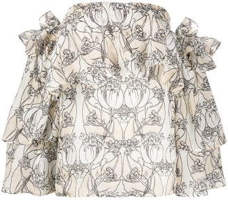 Erika Cavallini Floral Print Off-Shoulder Top