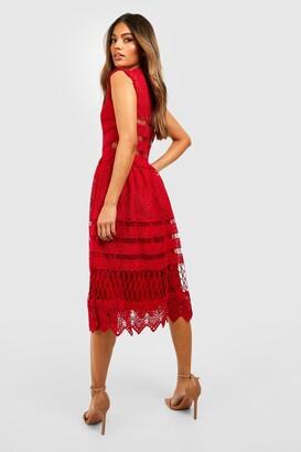 boohoo Boutique Lace Skater Bridesmaid Dress