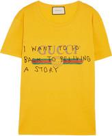 Gucci Printed Cotton-jersey T-shirt - Yellow