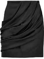 Balmain Draped Satin Mini Skirt