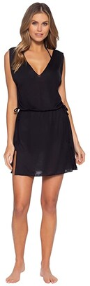 Becca by Rebecca Virtue Breezy Basics Plunge Neck Dress Cover-Up (Black) Women's Clothing