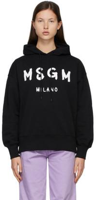 MSGM Black Brushed Logo Hoodie