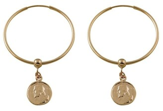 Mocha Hoop Earrings w/ Religious Charm - Gold