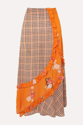 Preen Line Nevah Ruffled Paneled Printed Checked Crepe De Chine Skirt - Orange