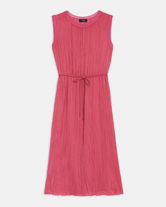Theory Crinkle Pleated Dress in Satin