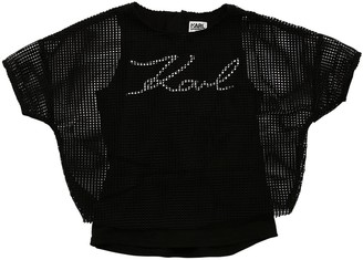 Karl Lagerfeld Paris 2-In-1 Cotton Jersey & Mesh T-Shirt