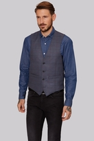 Moss Bros Tailored Fit Blue Multi Check Waistcoat