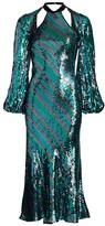 Rixo Celia Striped Sequin Open-Back Midi Dress