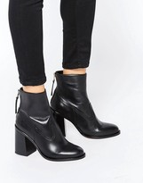 New Look Leather Zip Back Ankle Boot With Block Heel