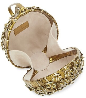 Nancy Gonzalez Alexandra Floral Snakeskin Top Handle Bag