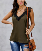 Te.Crew By Zesica TE.CREW by Zesica Women's Tank Tops Green - Olive Green Lace-Trim One More Night Tank - Women