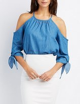 Charlotte Russe Chambray Cold Shoulder Top