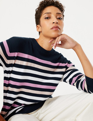 Marks and Spencer Pure Cotton Striped Relaxed Jumper
