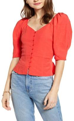 Nordstrom Something Navy Front Button Fitted Top Exclusive)