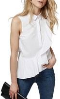 Topshop Women's Sleeveless Ruffle Shirt