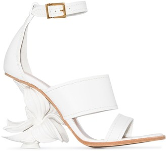 Alexander McQueen No.13 floral-appliqued 80mm leather wedge sandals