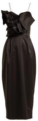 Anna October - Ruffled Satin Midi Dress - Black