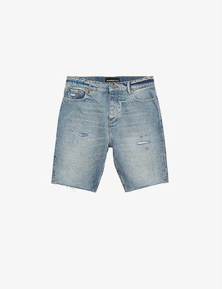 The Kooples Distressed regular-fit denim shorts