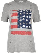 River Island Womens Grey stud flag print T-shirt
