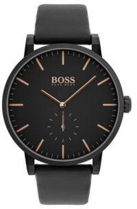 HUGO BOSS Black-plated stainless-steel watch with black leather strap