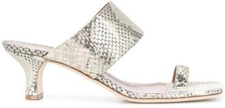 Paris Texas Snake-Effect Print Toe-Strap Sandals