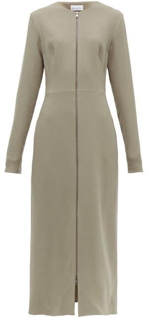 Raey Zip-front Wool-crepe Midi Dress - Grey